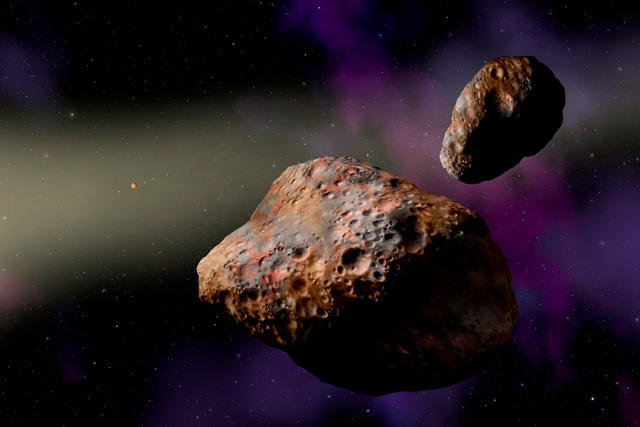 Artist's concept of Patroclus and Menoetius (Image courtesy W.M. Keck Observatory/Lynette Cook)
