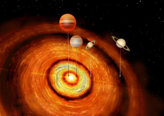 Artist's concept of the CI Tauri system with its planets (Image courtesy Amanda Smith, Institute of Astronomy)