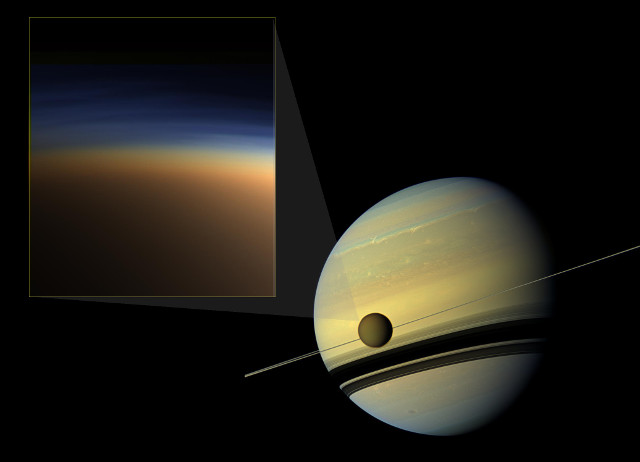 Saturn and Titan with the haze in the moon's atmosphere in the inset (Image NASA Jet Propulsion Laboratory, Space Science Institute, Caltech)