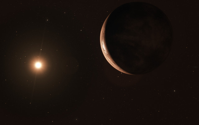 Artist's concept of Barnard's Star and its planet Barnard's Star b (Image ESO/M. Kornmesser)