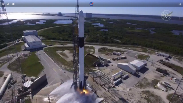 The Dragon cargo spacecraft starting its CRS-16 mission blasted off atop a Falcon 9 rocket (Image NASA TV)