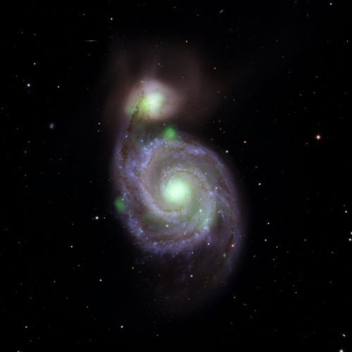 Surprising high-energy X-ray emissions from the Whirlpool Galaxy and its small companion