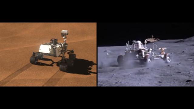 Mars Rover Curiosity and the Apollo 17's Moon Rover (Image NASA/JPL-Caltech)