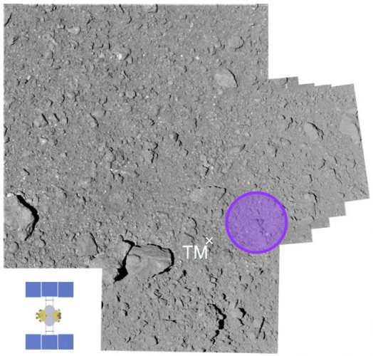 The L08-E1 area on asteroid Ryugu touched by Hayabusa 2 (Image courtesy JAXA)