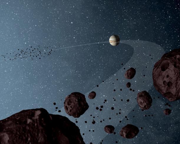 Artist's concept of Jupiter and its trojans (Image NASA/JPL-Caltech)