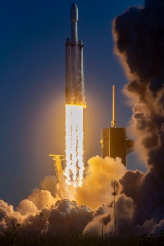 The Falcon Heavy blasting off carrying the Arabsat-6A satellite (Photo courtesy SpaceX)
