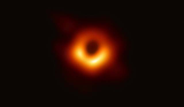 The area surrounding the supermassive black hole in the Virgo A galaxy (Image EHT Collaboration)