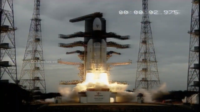 The Chandrayaan 2 with the launch of a GSLV Mk-III rocket (Image courtesy ISRO)
