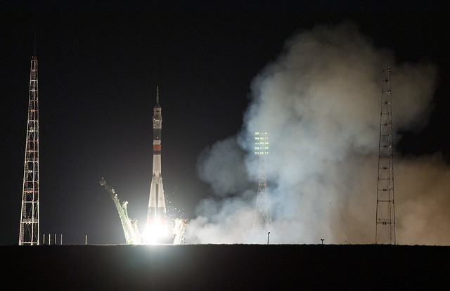 The Soyuz MS-13 spacecraft blasting off atop a Soyuz rocket (Photo NASA/Joel Kowsky)