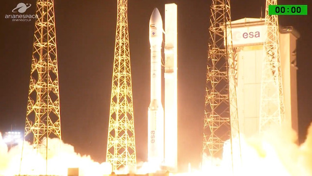 The Falcon Eye 1 satellite blasting off atop a Vega rocket (Image courtesy Arianespace. All rights reserved)
