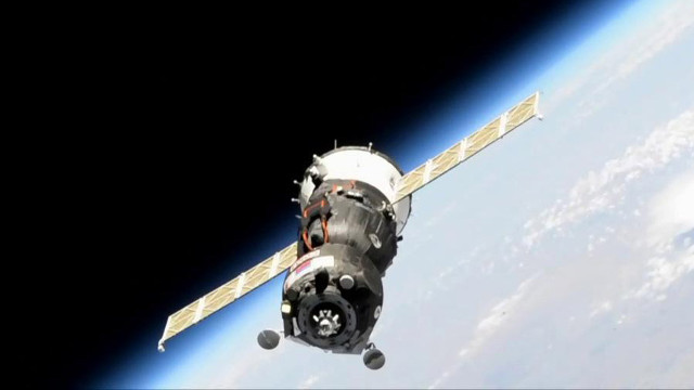 The Soyuz MS-14 spacecraft during its docking attempt (Image NASA)
