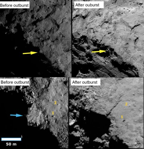 Collapsing cliffs and bouncing boulders on the surface of comet 67P/Churyumov-Gerasimenko