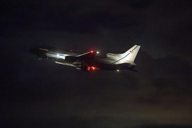 The L-1011 Stargazer aircraft taking off with the ICON satellite (Photo NASA/Frank Michaux)