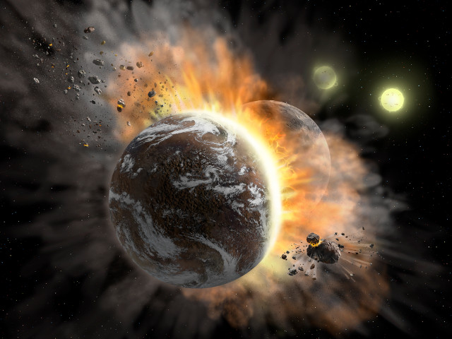 Artist's concept of a planetary collision in the BD +20 307 system (Image NASA/SOFIA/Lynette Cook)