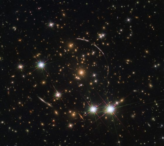 The image of an ancient galaxy multiplied by a gravitational lens