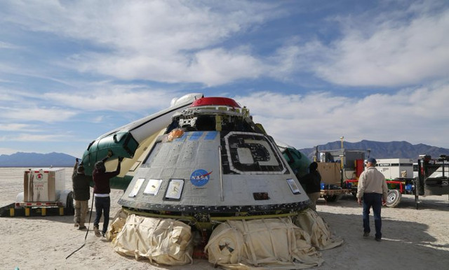 Boeing's CST-100 Starliner Calypso spacecraft during recovery (Photo courtesy Boeing. All rights reserved)