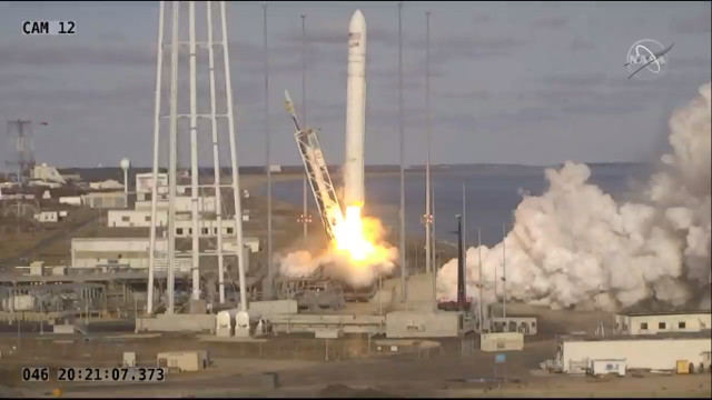 The Cygnus cargo spacecraft blasting off atop an Antares rocket to start its NG-13 mission (Image NASA TV)