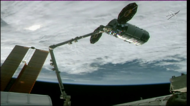 """The Cygnus """"Robert Lawrence"""" cargo spacecraft captured by the Canadarm2 robotic arm (Image NASA TV)"""