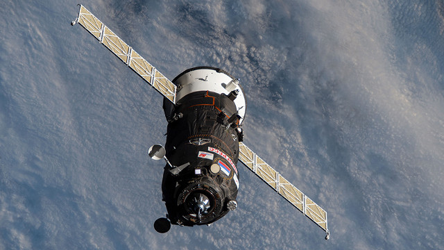 The Progress MS-15 cargo spacecraft approaching the International Space Station (Image NASA)