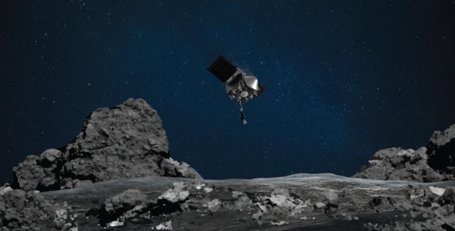 Artist's concept of OSIRIS-REx descending to Bennu's surface (Image NASA/Goddard/University of Arizona)
