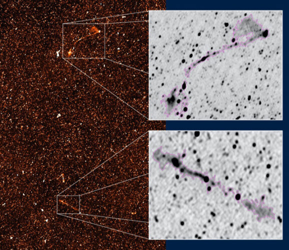 A portion of the radio map of the sky in the MIGHTEE survey with the two giant radio galaxies in the insets