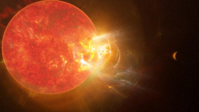 Artist's concept of Proxima Centauri during a superflare (Image NRAO/S. Dagnello)