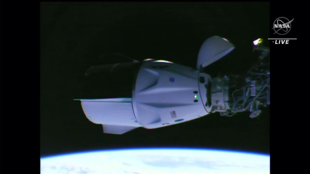 SpaceX's Crew Dragon Endeavour spacecraft docked to the International Space Station (Image NASA TV)