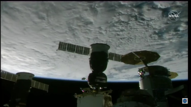 The Soyuz MS-18 spacecraft docking with the International Space Station (Image NASA TV)