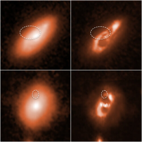 The likely galaxies where the origins of fast radio bursts cataloged as FRB 190714 (top) and FRB 180924 (bottom) was located