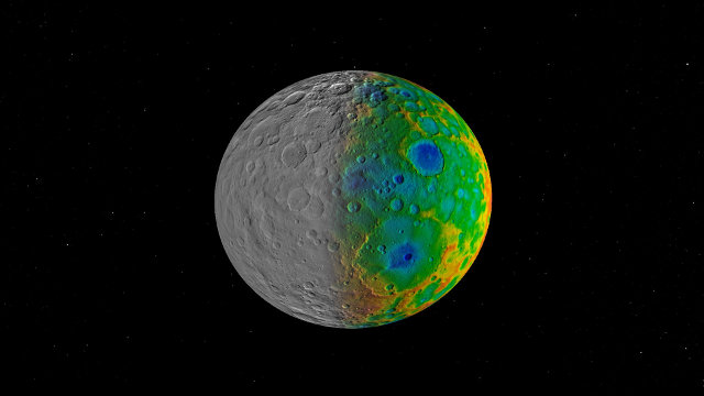 Visible (on the left) and topographic (on the right) map of the dwarf planet Ceres (Image NASA/JPL-Caltech/SwRI)