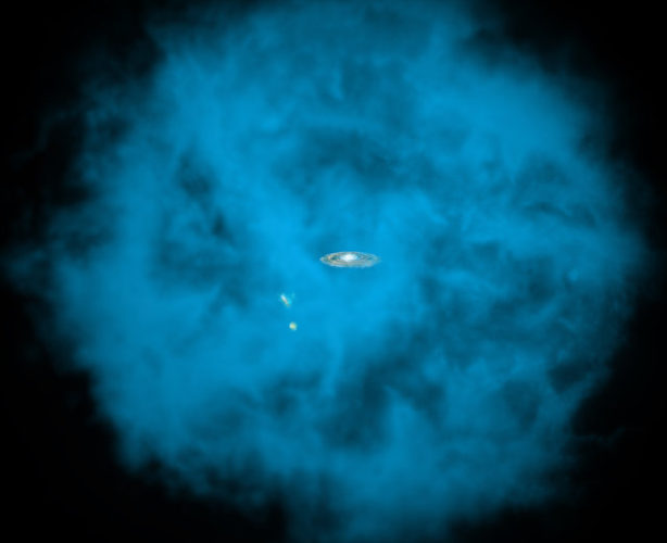 Artistic representation of the gas halo surrounding the Milky Way and the Magellanic Clouds (Image NASA/CXC/M.Weiss/Ohio State/A Gupta et al)