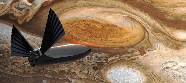 Artist's concept of a spaceship near Jupiter (Image courtesy SpaceX. All rights reserved)
