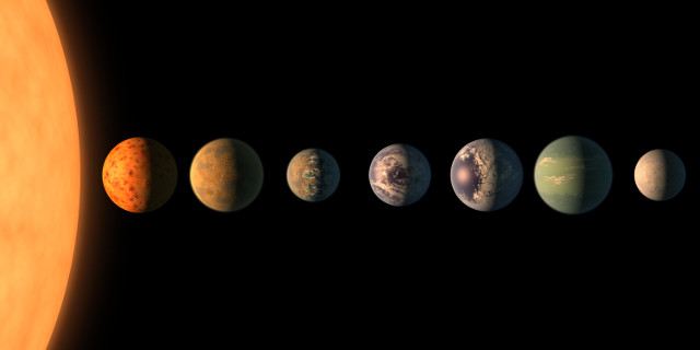 Artistic concept of the planets in the TRAPPIST-1 system (Image NASA/JPL-Caltech)