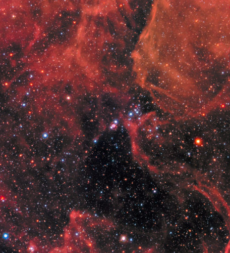 The supernova SN 1987A at the center (Image NASA, ESA, R. Kirshner (Harvard-Smithsonian Center for Astrophysics and Gordon and Betty Moore Foundation), and M. Mutchler and R. Avila (STScI))