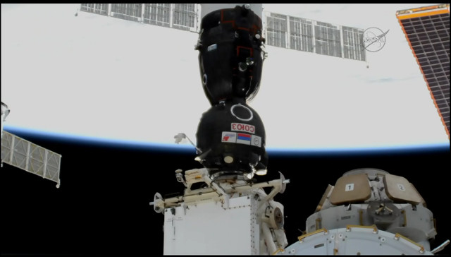 The Soyuz MS-07 spacecraft after docking with the International Space Station (Image NASA TV)