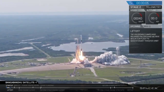 The Falcon 9 rocket with a Block 5 first stage blasting off (Image courtesy SpaceX. All rights reserved)
