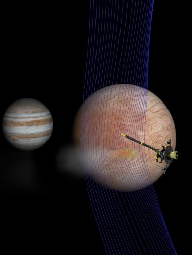 Illustration of Jupiter, Europa, magnetic field lines and the Galileo space probe (Image NASA/JPL-Caltech/Univ. of Michigan)
