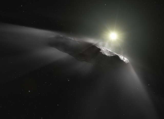 Artist's impression of 'Oumuamua with its emissions (Image ESA/Hubble, NASA, ESO, M. Kornmesser)