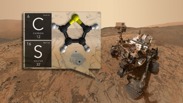 The Mars Rover Curiosity and two elements found (Image NASA/GSFC)