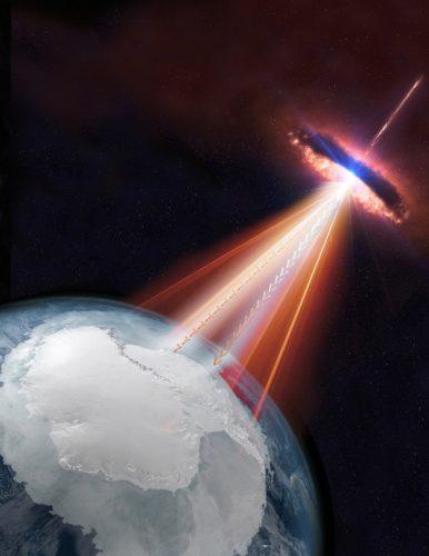 Artist's concept of a blazar emitting neutrinos and gamma rays (Image courtesy IceCube/NASA)