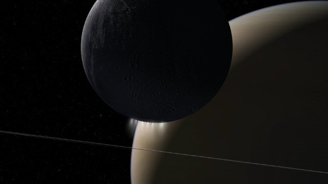 Artitst's concept of Enceladus and Saturn (Image NASA/JPL-Caltech)