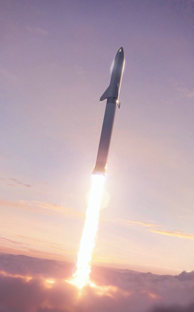 Rendering of the BFS atop the BFR (Image courtesy Elon Musk / SpaceX. All rights reserved)
