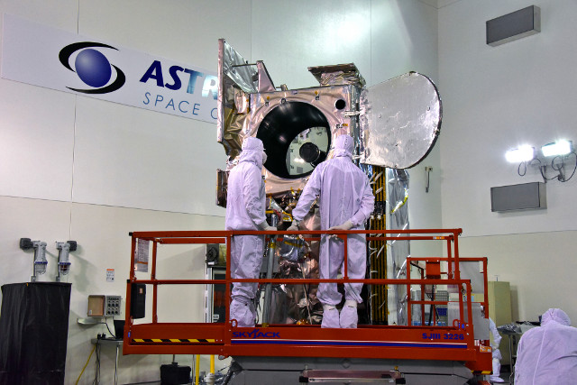 The ICESat-2 satellite during tests (Photo courtesy USAF 30th Space Wing/Timothy Trenkle)