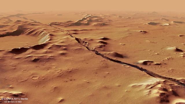 Perspective view of Cerberus Fossae (Image ESA/DLR/FU Berlin, CC BY-SA 3.0 IGO)