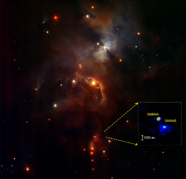 The Serpens Main star-forming cluster with SMM4A and SMM4B in the inset (Image ESO/ALMA(ESO/NAOJ/NRAO)/Aso et al.)