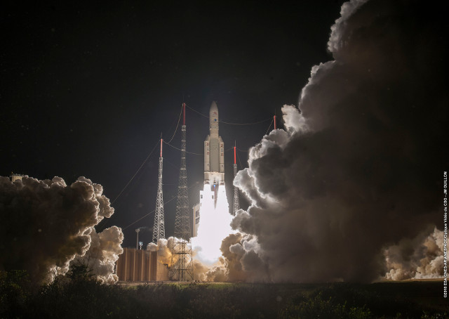 BepiColombo's space probe blasting off atop an Ariane 5 rocket (Photo courtesy ESA-CNES-Arianespace)