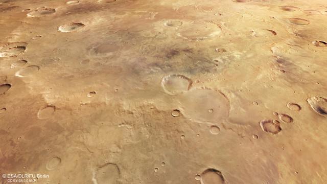 Perspective view of Greeley Crater (Image ESA/DLR/FU Berlin, CC BY-SA 3.0 IGO)