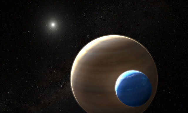 Artist's concept of the planet Kepler-1625b with its moon and its star in the background (Image NASA, ESA, and L. Hustak (STScI))
