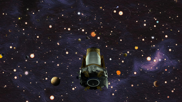 Artist's concept of the Kepler space telescope with some of the systems it observed (Image NASA)