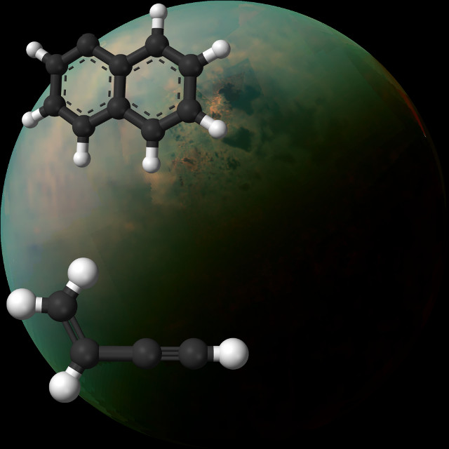 Titan and the molecular structure of naphthyl radical and vinylacetylene (Image NASA Jet Propulsion Laboratory, Caltech, Space Science Institute, John Hopkins University Applied Physics Laboratory, University of Arizona)